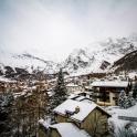Saas Fee, Szwajcaria - pogoda nie zachęca do wyjścia w góry